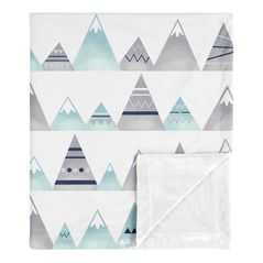 Aztec Watercolor Mountains Baby Boy or Girl Receiving Security Swaddle Blanket for Newborn or Toddler Nursery Car Seat Stroller Soft Minky by Sweet Jojo Designs - Navy Blue, Aqua and Grey