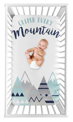 Aztec Watercolor Mountains Boy or Girl Fitted Crib Sheet Baby or Toddler Bed Nursery Photo Op by Sweet Jojo Designs - Navy Blue, Aqua and Grey
