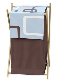 Baby and Kids Clothes Blue and Brown Geo Laundry Hamper by Sweet Jojo Designs