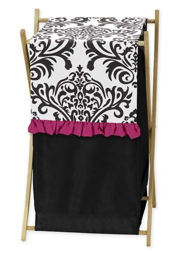 Baby and Kids Clothes Hot Pink, Black and White Isabella Laundry Hamper by Sweet Jojo Designs - Click to enlarge