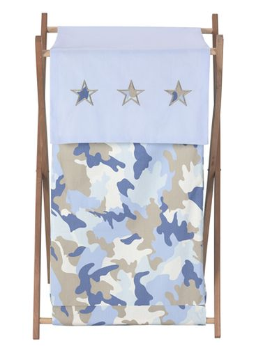 Baby and Kids Clothes Laundry Hamper for Blue and Khaki Camo Bedding - Click to enlarge