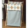 Baby and Kids Clothes Laundry Hamper for Brown and Blue Argyle Bedding Sets