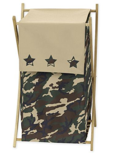 Baby and Kids Clothes Laundry Hamper for Green Camo Bedding - Click to enlarge