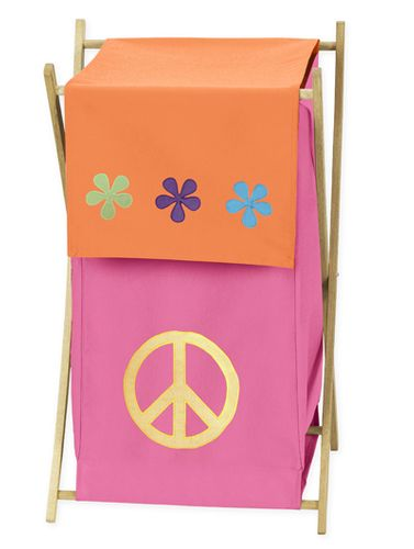 Baby and Kids Clothes Laundry Hamper for Groovy Peace Sign Bedding - Click to enlarge