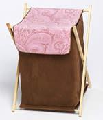 Baby and Kids Clothes Laundry Hamper for Pink and Brown Paisley Bedding