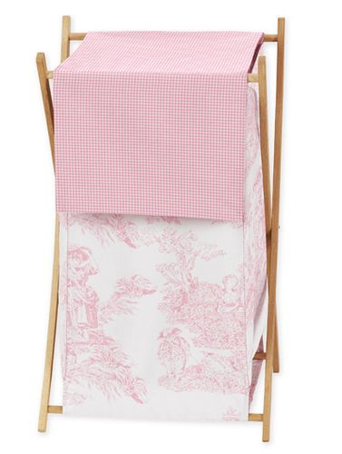 Baby And Kids Clothes Laundry Hamper For Pink French Toile Bedding   Click  To Enlarge