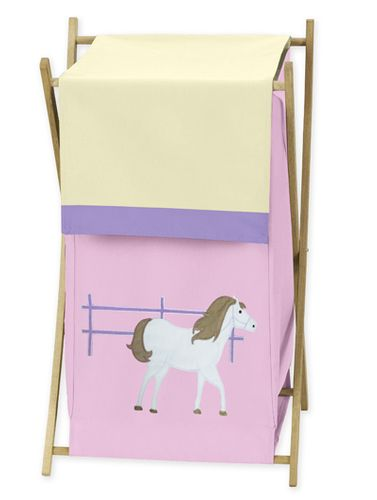 Baby and Kids Clothes Laundry Hamper for Pretty Pony Horse Bedding - Click to enlarge
