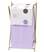 Baby and Kids Clothes Laundry Hamper for Purple and Brown Mod Dots Bedding