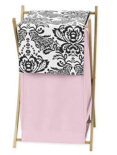 Baby and Kids Clothes Pink and Black Sophia Laundry Hamper by Sweet Jojo Designs - Click to enlarge