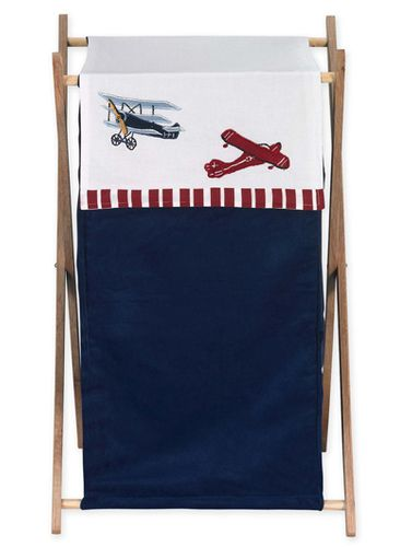 Baby and Kids Clothes Vintage Aviator Airplane Laundry Hamper by Sweet Jojo Designs - Click to enlarge