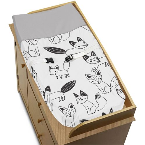 Baby Changing Pad Cover for Black and White Fox Collection by Sweet Jojo Designs - Click to enlarge