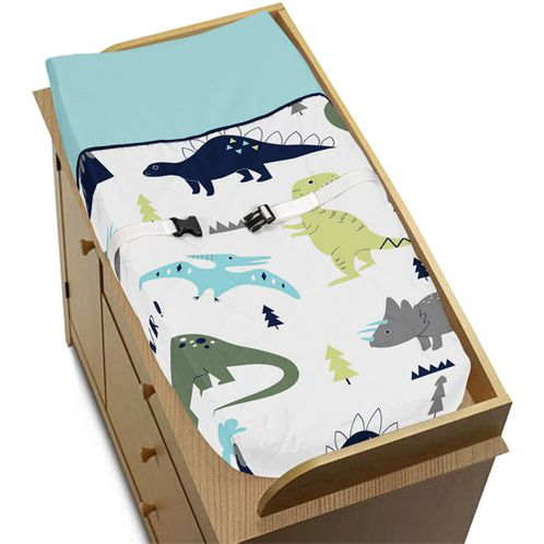 Baby Changing Pad Cover for Blue and Green Mod Dinosaur Collection by Sweet Jojo Designs - Click to enlarge