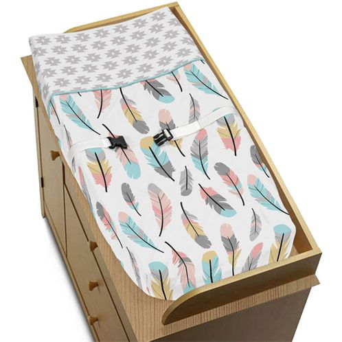 Baby Changing Pad Cover for Feather Collection by Sweet Jojo Designs - Click to enlarge