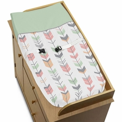 Baby Changing Pad Cover for Grey, Coral and Mint Woodland Arrow Collection by Sweet Jojo Designs