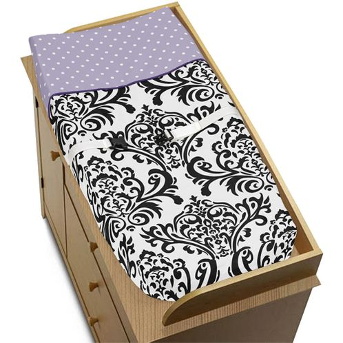 Baby Changing Pad Cover for Lavender, Purple, Black and White Sloane Collection by Sweet Jojo Designs - Click to enlarge