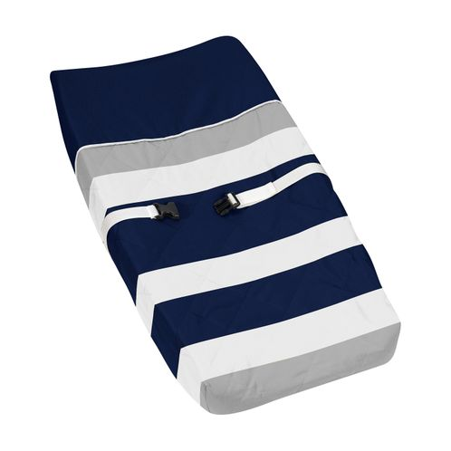 Baby Changing Pad Cover for Navy Blue and Gray Stripe Collection by Sweet Jojo Designs - Click to enlarge