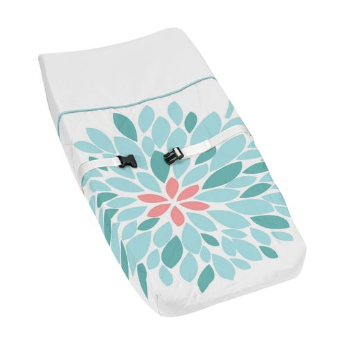 Baby Changing Pad Cover for Turquoise and Coral Emma Collection by Sweet Jojo Designs - Click to enlarge