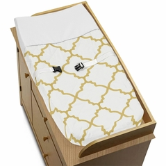 Baby Changing Pad Cover for White and Gold Trellis Collection by Sweet Jojo Designs