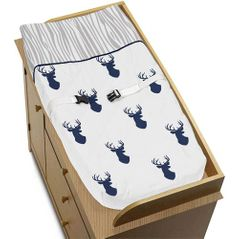 Baby Changing Pad Cover for Navy and White Woodland Deer Collection by Sweet Jojo Designs