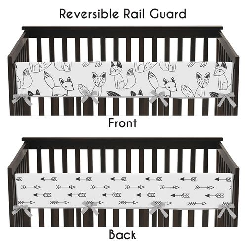 Baby Crib Long Rail Guard Cover for Black and White Fox and Arrow Collection by Sweet Jojo Designs - Click to enlarge