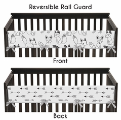 Baby Crib Long Rail Guard Cover for Black and White Fox and Arrow Collection by Sweet Jojo Designs