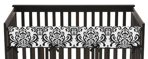 Baby Crib Long Rail Guard Cover for Black and White Isabella Collection by Sweet Jojo Designs - Click to enlarge
