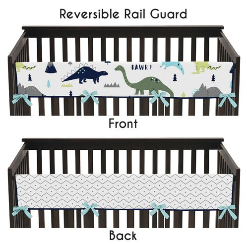 Baby Crib Long Rail Guard Cover for Blue and Green Mod Dinosaur by Sweet Jojo Designs - Click to enlarge