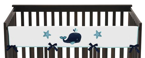 Baby Crib Long Rail Guard Cover for Blue Whale Collection by Sweet Jojo Designs - Click to enlarge