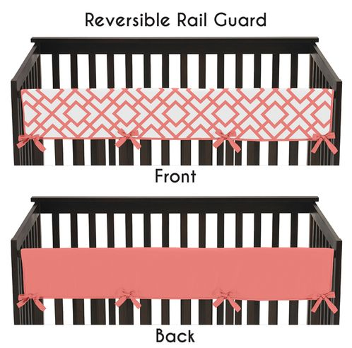 Baby Crib Long Rail Guard Cover for Coral and White Diamond Collection by Sweet Jojo Designs - Click to enlarge