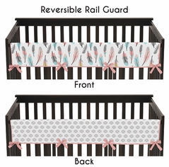Baby Crib Long Rail Guard Cover for Feather Collection by Sweet Jojo Designs