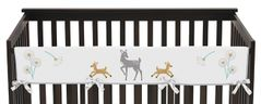 Baby Crib Long Rail Guard Cover for Forest Deer and Dandelion Collection by Sweet Jojo Designs