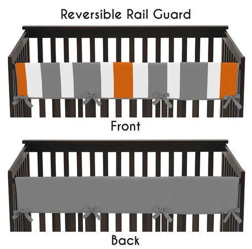 Baby Crib Long Rail Guard Cover for Gray and Orange Stripe by Sweet Jojo Designs - Click to enlarge