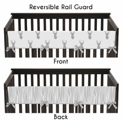 Baby Crib Long Rail Guard Cover for Grey and White Woodland Deer by Sweet Jojo Designs