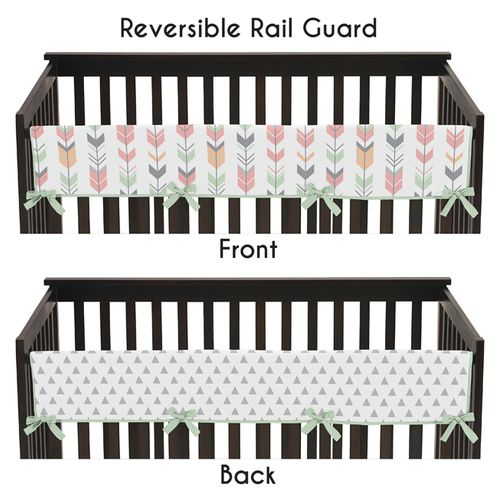 Baby Crib Long Rail Guard Cover for Grey, Coral and Mint Woodland Arrow Collection by Sweet Jojo Designs - Click to enlarge