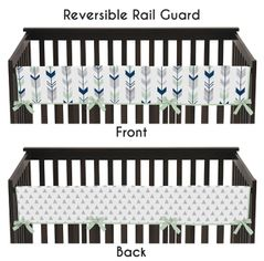 Baby Crib Long Rail Guard Cover for Grey, Navy Blue and Mint Woodland Arrow Collection by Sweet Jojo Designs