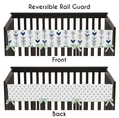 Baby Crib Long Rail Guard Cover for Grey, Navy Blue and Mint Woodland Arrow Collection by Sweet Jojo Designs - Click to enlarge