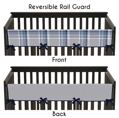 Baby Crib Long Rail Guard Cover for Navy and Grey Plaid Boys by Sweet Jojo Designs - Click to enlarge