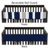 Baby Crib Long Rail Guard Cover for Navy Blue and Gray Stripe by Sweet Jojo Designs