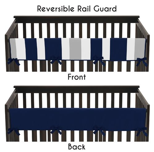 Baby Crib Long Rail Guard Cover for Navy Blue and Gray Stripe by Sweet Jojo Designs - Click to enlarge