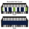 Baby Crib Long Rail Guard Cover for Navy Blue and Lime Stripe by Sweet Jojo Designs