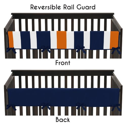 Baby Crib Long Rail Guard Cover for Navy Blue and Orange Stripe by Sweet Jojo Designs - Click to enlarge