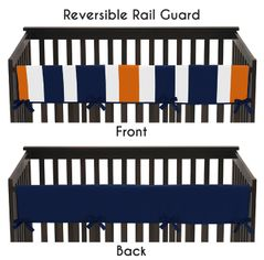 Baby Crib Long Rail Guard Cover for Navy Blue and Orange Stripe by Sweet Jojo Designs