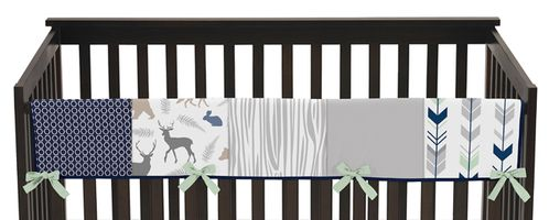 Baby Crib Long Rail Guard Cover for Navy, Mint and Grey Woodsy Collection by Sweet Jojo Designs - Click to enlarge