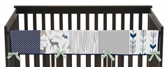 Baby Crib Long Rail Guard Cover for Navy, Mint and Grey Woodsy Collection by Sweet Jojo Designs