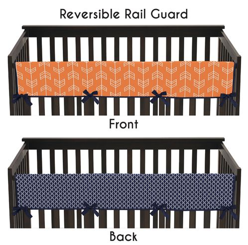 Baby Crib Long Rail Guard Cover for Orange and Navy Arrow by Sweet Jojo Designs - Click to enlarge