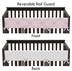 Baby Crib Long Rail Guard Cover for Pink and Gray Alexa Butterfly by Sweet Jojo Designs
