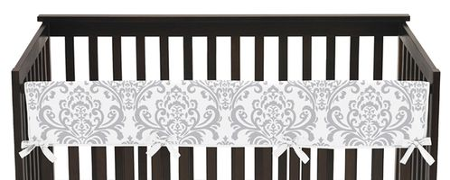Baby Crib Long Rail Guard Cover for Pink, Gray and White Elizabeth by Sweet Jojo Designs - Click to enlarge