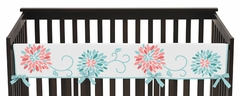 Baby Crib Long Rail Guard Cover for Turquoise and Coral Emma Collection by Sweet Jojo Designs