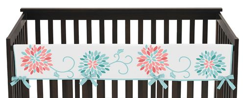 Baby Crib Long Rail Guard Cover for Turquoise and Coral Emma Collection by Sweet Jojo Designs - Click to enlarge