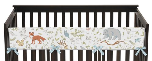 Baby Crib Long Rail Guard Cover for Woodland Animal Toile Collection by Sweet Jojo Designs - Click to enlarge